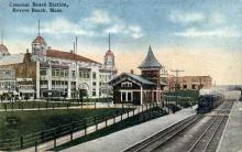 dep-MA011 - Crescent Beach Station, Revere Beach, Massachusetts, MA, USA,  Railroad Train Depot Postcard Post Card