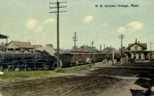 dep-MA017 - R.R. Station, Orange, Massachusetts, MA, USA,  Railroad Train Depot Postcard Post Card