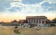 dep-MA018 - Union Station, Pittsfield, Massachusetts, MA, USA,  Railroad Train Depot Postcard Post Card