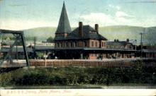 dep-MA021 - B. & O.R.R. Station, North Adams,Massachusetts, MA, USA,  Railroad Train Depot Postcard Post Card