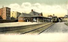 dep-MA022 - Western Division Station, B. & M.R.R., Malden, Massachusetts, MA, USA,  Railroad Train Depot Postcard Post Card