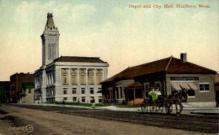 dep-MA025 - Depot and City Hall, Marlboro, Massachusetts, MA, USA,  Railroad Train Depot Postcard Post Card