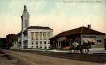 dep-MA026 - Depot and City Hall, Marlboro, Massachusetts, MA, USA,  Railroad Train Depot Postcard Post Card
