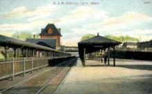 dep-MA032 - B.&M. Station, Lynn, Massachusetts, MA, USA,  Railroad Train Depot Postcard Post Card