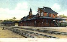 dep-MA033 - B.&M. Union Passenger Station, Greenfield, Massachusetts, MA, USA,  Railroad Train Depot Postcard Post Card