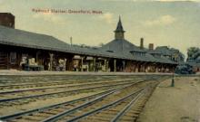 dep-MA034 - Railroad Station, Greenfield, Massachusetts, MA, USA,  Railroad Train Depot Postcard Post Card