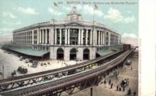 dep-MA046 - South Station and Elevated Railway, Boston, Massachusetts, MA, USA,  Railroad Train Depot Postcard Post Card