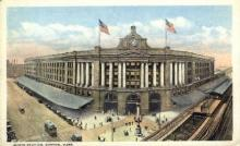 dep-MA050 - South Station, Boston, Massachusetts, MA, USA,  Railroad Train Depot Postcard Post Card