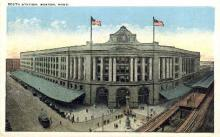 dep-MA051 - South Station, Boston, Massachusetts, MA, USA,  Railroad Train Depot Postcard Post Card