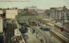 dep-MA058 - Elevated Terminal Station, Boston, Massachusetts, MA, USA,  Railroad Train Depot Postcard Post Card