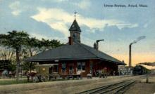 dep-MA061 - Union Station, Athol, Massachusetts, MA, USA,  Railroad Train Depot Postcard Post Card