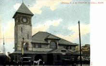 dep-MA064 - Lowell B.&M. Station, Lowell, Massachusetts, MA, USA,  Railroad Train Depot Postcard Post Card