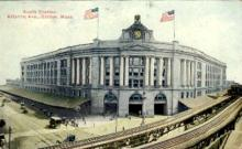 dep-MA065 - South Station, Boston, Massachusetts, MA, USA,  Railroad Train Depot Postcard Post Card