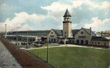 dep-ME003 - Union Station, Bangor, Maine, ME, USA Railroad Train Depot Postcard Post Card
