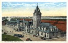 dep-ME011 - Union Station, Portland, Maine, ME, USA Railroad Train Depot Postcard Post Card