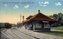 dep-ME017 - New M.C.R.R Station, Livermore Falls, Maine, ME, USA Railroad Train Depot Postcard Post Card
