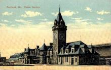 dep-ME018 - Union Station, Portland, Maine, ME, USA Railroad Train Depot Postcard Post Card