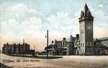 dep-ME022 - Union Station, Portland, Maine, ME, USA Railroad Train Depot Postcard Post Card
