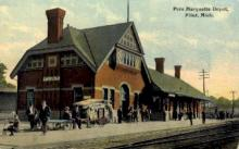 dep-MI002 - Pere Marquette Depot, Flint, Michigan, MI, USA Railroad Train Depot Postcard Post Card