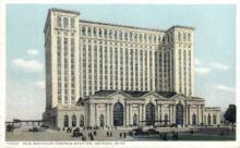 dep-MI009 - New Michigan Central Station, Detroit, Michigan, MI, USA Railroad Train Depot Postcard Post Card