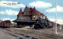 dep-MI010 - Grand Trunk Western Depot, Durand, Michigan, MI, USA Railroad Train Depot Postcard Post Card
