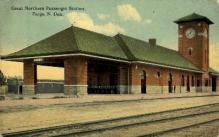 dep-ND002 - Great Northern Passenger Station, Fargo, North Dakota, ND, USA Railroad Train Depot Postcard Post Card