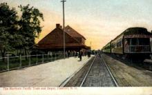 dep-ND003 - The Northern Pacific Train and Depot, Fargo, North Dakota, ND, USA Railroad Train Depot Postcard Post Card