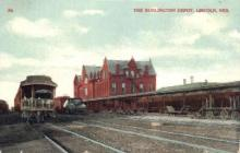 dep-NE018 - The Burlington Depot, Lincoln, Nebraska, NE, USA Railroad Train Depot Postcard Post Card