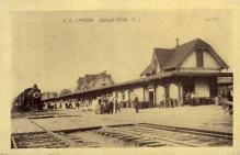 dep-NJ002 - Railroad Station, Asbury Park, New Jersey, NJ, USA Railroad Train Depot Postcard Post Card