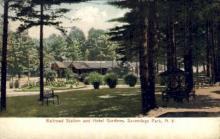 dep-NY018 - Railroad Station, Sacandaga Park, New York, NY, USA Railroad Train Depot Postcard Post Card