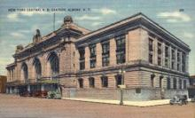 dep-NY030 - New York Central R.R. Station, Albany, New York, NY, USA Railroad Train Depot Postcard Post Card