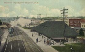 dep-NY031 - Depot and Depot Square, Tarrytown, New York, NY, USA Railroad Train Depot Postcard Post Card