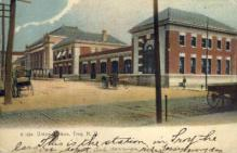 dep-NY032 - Union Station, Troy, New York, NY, USA Railroad Train Depot Postcard Post Card