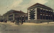 dep-NY033 - Union Station, Troy, New York, NY, USA Railroad Train Depot Postcard Post Card