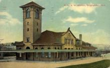 dep-NY035 - D.L.&W. Station, Binghamton, New York, NY, USA Railroad Train Depot Postcard Post Card