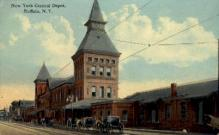 dep-NY036 - New York Central Depot, Buffalo, New York, NY, USA Railroad Train Depot Postcard Post Card