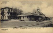 dep-NY039 - Railroad Station and Hotel, Cobleskill, New York, NY, USA Railroad Train Depot Postcard Post Card