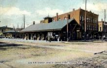 dep-NY042 - Erie R.R. Station and St. James Hotel, Corning, New York, NY, USA Railroad Train Depot Postcard Post Card
