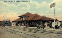 dep-NY045 - Lehigh Valley R.R. Station, Cortland, New York, NY, USA Railroad Train Depot Postcard Post Card