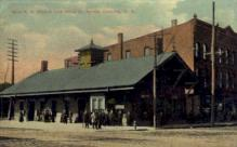 dep-NY050 - Erie R.R. Station and Hotel, Corning, New York, NY, USA Railroad Train Depot Postcard Post Card