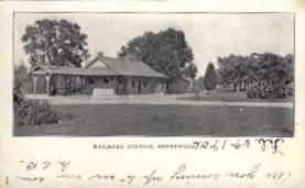 dep-NY051 - Railroad Station, Brentwood, New York, NY, USA Railroad Train Depot Postcard Post Card