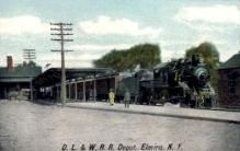 dep-NY060 - D.L.&W.R.R. Depot, Elmira, New York, NY, USA Railroad Train Depot Postcard Post Card