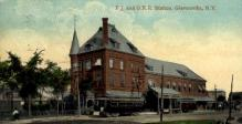 dep-NY075 - F.J.&G.R.R. Station, Gloversville, New York, NY, USA Railroad Train Depot Postcard Post Card