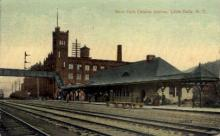 dep-NY086 - New York Central Station, Little Falls, New York, NY, USA Railroad Train Depot Postcard Post Card