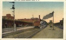 dep-NY096 - New York Central Station, Utica, New York, NY, USA Railroad Train Depot Postcard Post Card