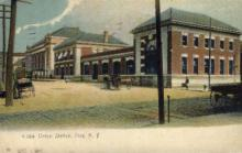 dep-NY109 - Union Station, Troy, New York, NY, USA Railroad Train Depot Postcard Post Card