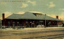 dep-NY113 - D.&H.R.R.Station, Oneonta, New York, NY, USA Railroad Train Depot Postcard Post Card