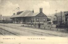 dep-NY116 - D.&H.R.R.Station, Oneonta, New York, NY, USA Railroad Train Depot Postcard Post Card
