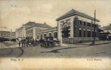 dep-NY124 - Union Station, Troy, New York, NY, USA Railroad Train Depot Postcard Post Card