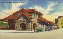 dep-NY127 - Erie R.R. Station, Middletown, New York, NY, USA Railroad Train Depot Postcard Post Card